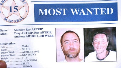 "Most Wanted A copy of the U.S. Marshal's ""Most Wanted"" sheet for Anthony Ray Artrip."