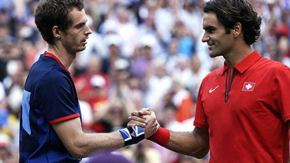 Murray and Federer Great Britain's Andy Murray, left, shakes hands with Switzerland's Roger Federer after the men's singles gold medal match.