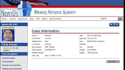 NamUs.gov The new Web site NamUs.gov, for National Missing and Unidentified Persons System, shows the page for missing Pittsburgher Lonnett Jackson.