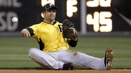 Neil Walker Pirates second baseman Neil Walker throws to first after fielding an RBI grounder by the Phillies' Jimmy Rollins, who was out at first, in the sixth inning of an exhibition game Tuesday in Philadelphia.
