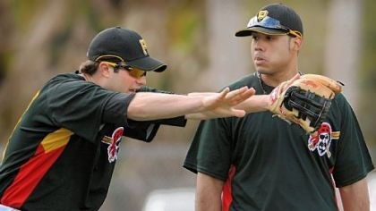 Neil Walker and Pedro Alvarez Former No. 1 Pirates prospect Neil Walker, left, talks with current No. 1 prospect Pedro Alvarez during drills at third base in February in Bradenton, Fla.