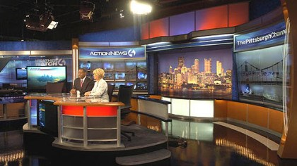 New WTAE news set Anchors Andrew Stockey and Kelly Frey rehearse at WTAE's new anchor desk.