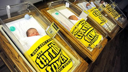 Newborns with the Terrible Towel St. Clair hospital in Mt. Lebanon gave Terrible Towel blankets to all newborn infants in January 2008.