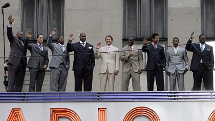 NFL Draft at Radio City Music Hall NFL Draft prospects wave from atop the marquee at Radio City Music Hall yesterday, the headquarters for the NFL Draft starting this afternoon.