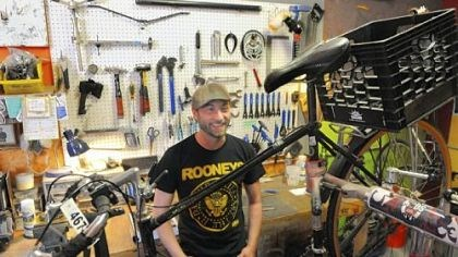 Nicholas Brungo Nicholas Brungo, owner of Love Bikes, at his shop in an alleyway behind Arsenal Lanes in Lawrenceville, recently wrapped up a campaign to raise funds to start a new venture -- building bikes out of bamboo.
