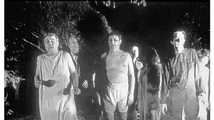 """Night of the Living Dead"" Zombies roam the landscape in ""Night of the Living Dead."""
