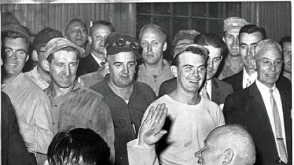 Nikita Khrushchev Nikita Khrushchev meets steelworkers at Mesta Machine in West Homestead in 1959.