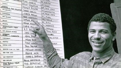 No. 1 pick Rod Woodson examines the 1987 draft board.