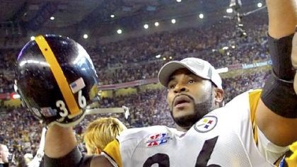 No. 2: Super Bowl XL Jerome Bettis celebrates the 21-10 victory against the Seahawks in Super Bowl XL Feb 5, 2006, in Detroit. Bettis announced his retirement after the game in his hometown.
