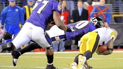 No. 7: Tone's toes (regular season) With 43 seconds left to play, the Steelers' Santonio Holmes makes the controversial touchdown catch that won a 2008 game against the Ravens in Baltimore, 13-9, and clinched the AFC North Division championship for Pittsburgh, as well as a first-round bye in the playoffs.