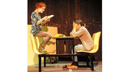 "No Name Players Karen Baum and Don DiGiulio in No Name Players' production of Neil Labute's ""reasons to be pretty."""
