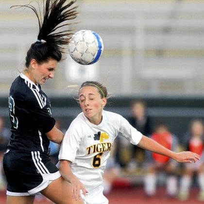 North Allegheny soccer North Allegheny's Lauren Briggs, right, and Pine-Richland's Marisa Hombosky jump for a head ball during a match last season.
