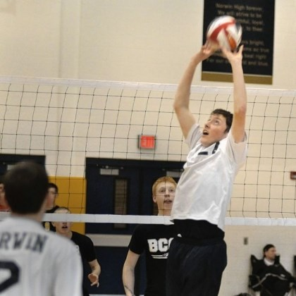 Norwin volleyball Norwin setter Mitch Farabaugh gets to a ball to set up a teammate for a shot against Beaver County Christian at the Knights' tournament earlier this season.