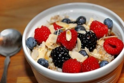 Oatmeal with berries and nuts Oatmeal with berries and nuts served by Bluebird Kitchen on Forbes Avenue downtown.