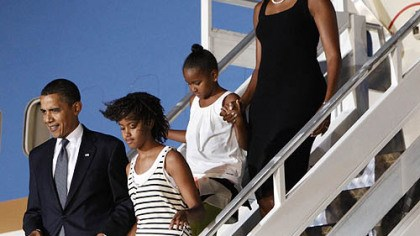 Obamas arrive in Ghana President Barack Obama and first lady Michelle Obama arrive in Accra, Ghana with their daughters Sasha and Malia on Friday.