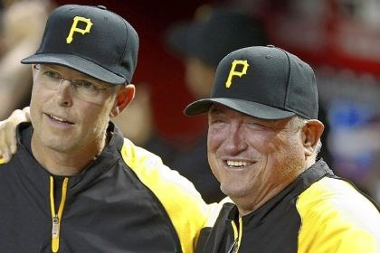 oldbucs2 Pirates hitting coach Jay Bell, left, with manager Clint Hurdle.