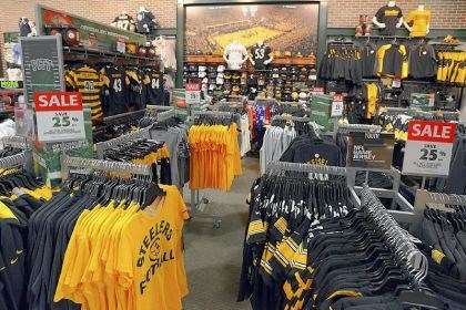 On sale: The Steelers clothing section On sale: The Steelers clothing section offers 25 percent discounts.
