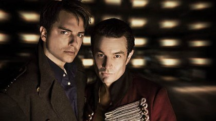 "On the same team? Captain Jack Harkness (John Barrowman) and Captain John Hart (guest star James Marsters) on ""Torchwood."""