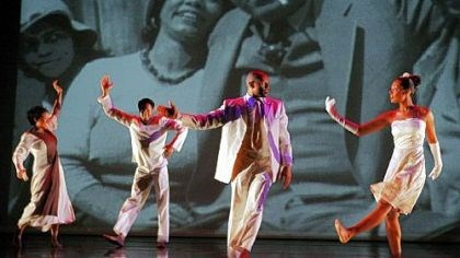 """One Shot"" From left: Tiffany Quinn, Jule Lane, Keon Thoulouis, Clarice Young of the Ronald K. Brown/Evidence Dance Company in a New York City performance of ""One Shot"" in 2008."