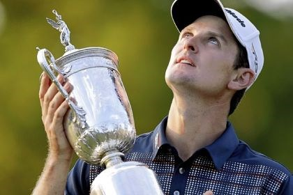 open1 Justin Rose poses with the U.S. Open trophy after shooting a 70 and 281 overall to win Sunday at Merion Golf Club in Ardmore, Pa.