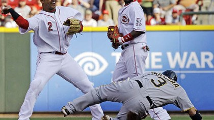 Orlando Cabrera, Aki Iwamura and Brandon Phillips Reds shortstop Orlando Cabrera, left, throws to first base to complete a double play after forcing out the Pirates' Aki Iwamura at second base during the first inning of Wednesday's game at Great American Ballpark, in Cincinnati as second baseman Brandon Phillips watches. The Pirates' Neil Walker was out at first.