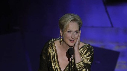"Oscars - Best actress Meryl Streep accepts the Oscar for best actress for ""The Iron Lady."""