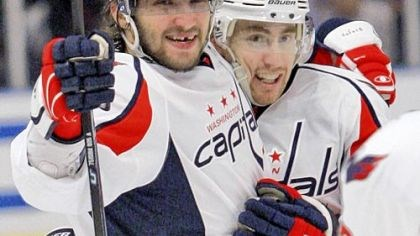Ovechkin! The Washington Capitals' Alex Ovechkin, left, celebrates with teammate Tomas Fleischmann, after scoring a goal against the New York Rangers last month.