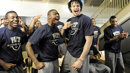 Panther teammates celebrate Travon Woodall, left, Ashton Gibbs, center, and Gary McGhee celebrate with their Panther teammates over Pitt's seeding.