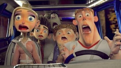 "'ParaNorman' Courtney (Anna Kendrick), Norman (Kodi Smit-McPhee), Alvin (Christopher Mintz-Plasse), Neil (Tucker Albrizzi), and Mitch (Casey Affleck) hit the road -- and something else -- in ""ParaNorman."""