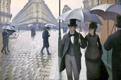 "'Paris Street; Rainy Day' ""Paris Street; Rainy Day,"" painted by Gustave Caillebotte in 1876-1877, shows the gritty reality of a rainy day in a Paris filled with wide boulevards, parks and public spaces. It is one of the 75 paintings in ""Impressionism, Fashion, and Modernity"" at the Art Institute of Chicago."