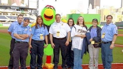Patty Storm Patty Storm, second from right, of Export, was honored, along with Murrysville Medic One, at a Pirates game two weeks ago. Mrs. Storm was treated successfully in February for an aortic dissection, an occurrence that few survive.