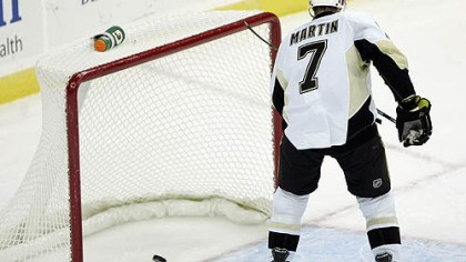 Paul Martin Penguins defenseman Paul Martin scores an empty-net goal during the the third period of Monday's game at the Prudential Center in Newark, N.J.