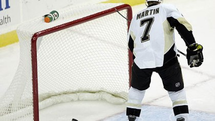 Paul Martin Penguins defenseman Paul Martin scores an empty-net goal during the the third period.