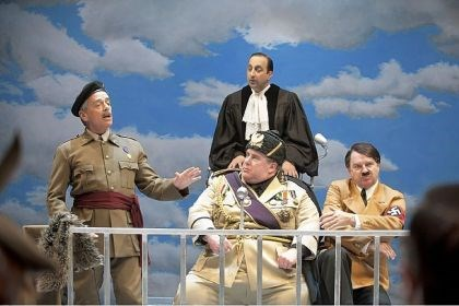 "'Peace in Our Time: A Comedy' Lorne Kennedy, left, as El Generalisimo, Sanjay Talwar as The Senior Judge, Neil Barclay as Il Duce and Ric Reid as Der Fuhrer in ""Peace in Our Time: A Comedy"" at the Shaw Festival."