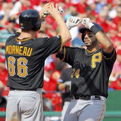 pedro morneau Pedro Alvarez is congratulated by Justin Morneau after hitting a two-run home run Friday in St. Louis.