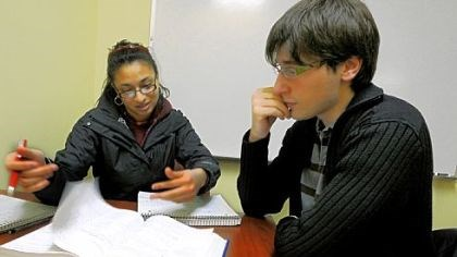 Peer tutoring The peer tutoring program helps Carnegie Mellon students study, including freshman Nicole Rajasekera, who is tutored in calculus by junior Volkan Eren.
