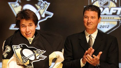 penguins The Penguins' No. 1 pick, Derrick Pouliot, meets owner Mario Lemieux Friday at Consol Energy Center.