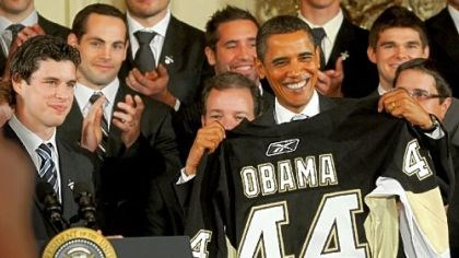 Penguins meet Obama Penguins captain Sidney Crosby presents President Barack Obama with a jersey yesterday.
