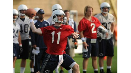 penn state first practice Penn State quarterback Matt McGloin throws during NCAA college football practice today in State College. The team held its first formal workouts since the NCAA leveled strict sanctions against the program, including a four-year bowl ban, for the Jerry Sandusky child sex abuse scandal.