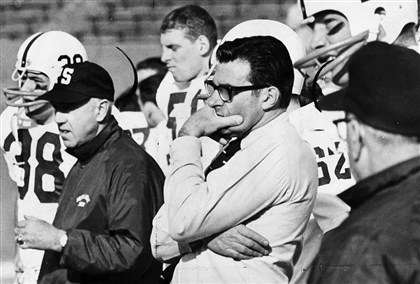 Penn State vs. Pitt Stubborn Pitt gave coach Joe Paterno cause for concern before his Penn State team pulled out 27-2 win on Nov. 22, 1969.