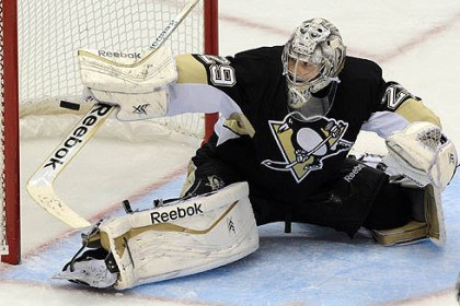 pens sabres 1 Goalie Marc-Andre Fleury blocks a shot by the Buffalo Sabres on Saturday at Consol Energy Center.