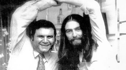 "Pete Bennett and George Harrison When the Beatles split, Pete Bennett, left, worked on their various solo careers. He helped George Harrison, right, with his 1972 ""Concert for Bangladesh."""