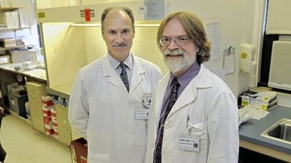 Photo of Dr. John Lister and Dr. Gary Gilmore Dr. John Lister and Dr. Gary Gilmore of West Penn Hospital led research that points to a possible advantage from fetal cells remaining in a mother's body long after giving birth.