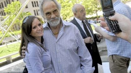 "Photo with Tommy Chong Sissy Dillon, 27, of Oakdale, has her picture taken with comedian Tommy Chong at Mellon Square in Downtown on Wednesday. Mr. Chong was in town for his show, ""Laugh 'til You're Blue,"" presented by the Allegheny County Democratic Committee. In the background is Cyril Wecht, the former coroner."