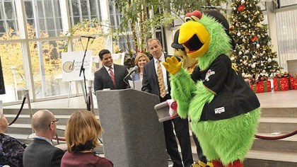 Pirate parrot at light up night The Pirate Parrot stands by with Steely McBeam as Andy Wisniewski, vice president of Highwoods Properties./PPG Place, center, talks about the ice rink and the planned mascot skate during a press conference today.