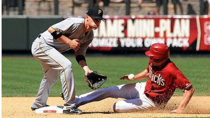 Pirates 2, Diamondbacks 1 Clint Barmes waits for the throw from home plate as AJ Pollock of the Arizona Diamondbacks slides into second base at Chase Field in Phoenix, Arizona.