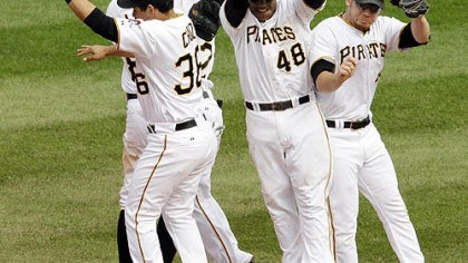 Pirates Pirates players celebrate an 11-1 win against the Dodgers.