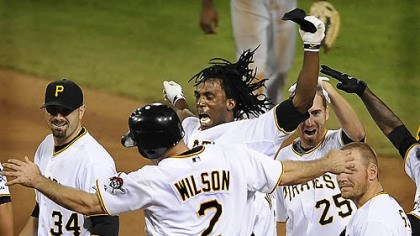 Pirates celebrate winning run The Pirates' Andrew McCutchen celebrates with Jack Wilson after knocking in the winning run in the ninth inning against the Indians, June 25, 2009.