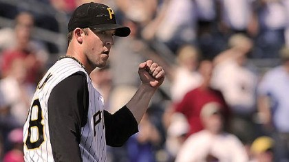 Pirates pitcher Paul Maholm The Pirates' Paul Maholm reacts to a defensive play during his three-hit shutout of Houston Sunday at PNC Park.