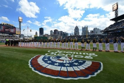 PiratesOpeningDay_3 Opening Day ceremonies begin Monday as the national anthem is sung at PNC Park.